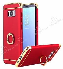 Eiroo Ring Fit Samsung Galaxy S8 Plus Selfie Yüzüklü Kırmızı Rubber Kılıf