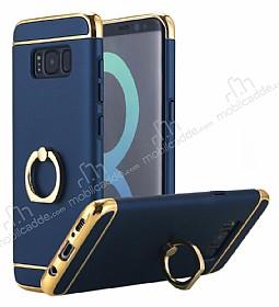 Eiroo Ring Fit Samsung Galaxy S8 Selfie Yüzüklü Lacivert Rubber Kılıf