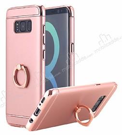 Eiroo Ring Fit Samsung Galaxy S8 Selfie Yüzüklü Rose Gold Rubber Kılıf