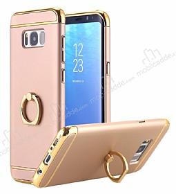 Eiroo Ring Fit Samsung Galaxy S8 Selfie Yüzüklü Gold Rubber Kılıf