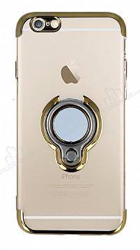 Eiroo Ring Laser iPhone 6 / 6S Selfie Yüzüklü Gold Silikon Kılıf