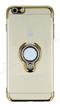 Eiroo Ring Laser iPhone 6 Plus / 6S Plus Selfie Yüzüklü Gold Silikon Kılıf