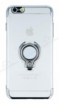 Eiroo Ring Laser iPhone 6 Plus / 6S Plus Selfie Yüzüklü Silver Silikon Kılıf