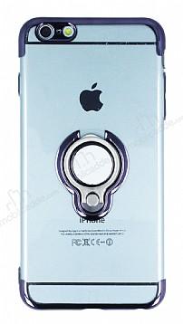Eiroo Ring Laser iPhone 6 Plus / 6S Plus Selfie Yüzüklü Siyah Silikon Kılıf