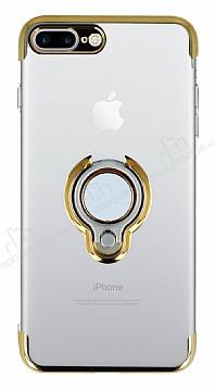 Eiroo Ring Laser iPhone 7 Plus / 8 Plus Selfie Yüzüklü Gold Silikon Kılıf