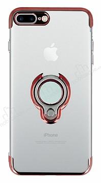 Eiroo Ring Laser iPhone 7 Plus / 8 Plus Selfie Yüzüklü Kırmızı Silikon Kılıf