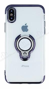 Eiroo Ring Laser iPhone X / XS Selfie Yüzüklü Siyah Silikon Kılıf