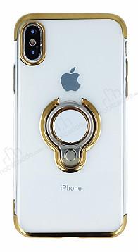 Eiroo Ring Laser iPhone X Selfie Yüzüklü Gold Silikon Kılıf