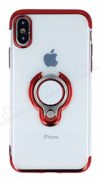 Eiroo Ring Laser iPhone X Selfie Yüzüklü Kırmızı Silikon Kılıf