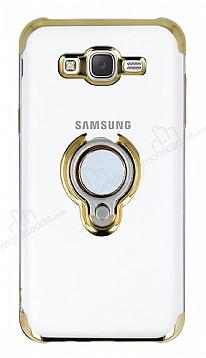 Eiroo Ring Laser Samsung Galaxy J7 / Galaxy J7 Core Selfie Yüzüklü Gold Silikon Kılıf