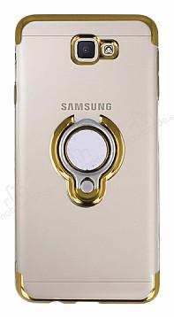 Eiroo Ring Laser Samsung Galaxy J7 Prime Selfie Yüzüklü Gold Silikon Kılıf