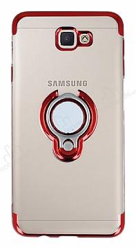 Eiroo Ring Laser Samsung Galaxy J7 Prime Selfie Yüzüklü Kırmızı Silikon Kılıf
