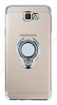 Eiroo Ring Laser Samsung Galaxy J7 Prime / J7 Prime 2 Selfie Yüzüklü Silver Silikon Kılıf