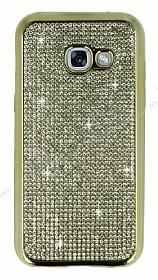 Eiroo Samsung Galaxy A3 2017 Taşlı Gold Silikon Kılıf