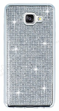 Eiroo Samsung Galaxy A5 2016 Taşlı Silver Rubber Kılıf