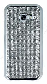 Eiroo Samsung Galaxy A7 2017 Taşlı Silver Silikon Kılıf