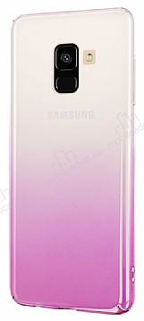 Eiroo Samsung Galaxy A8 2018 Geçişli Pembe Rubber Kılıf