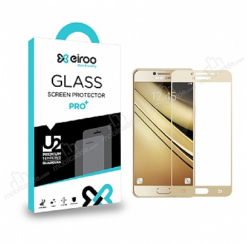 Eiroo Samsung Galaxy C7 Pro Curve Tempered Glass Full Gold Cam Ekran Koruyucu