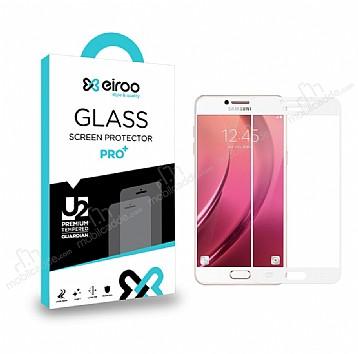 Eiroo Samsung Galaxy C7 Pro Curve Tempered Glass Full Beyaz Cam Ekran Koruyucu
