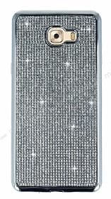 Eiroo Samsung Galaxy C9 Pro Taşlı Silver Silikon Kılıf