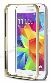 Eiroo Samsung Galaxy Core Prime Gold �izgili Metal Bumper �er�eve Gold K�l�f