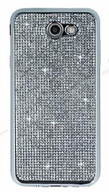 Eiroo Samsung Galaxy J7 2017 Taşlı Silver Silikon Kılıf