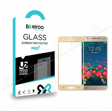 Eiroo Samsung Galaxy J7 / Galaxy J7 Core Curve Tempered Glass Full Gold Cam Ekran Koruyucu