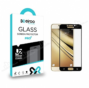 Eiroo Samsung Galaxy J7 Pro 2017 Curve Tempered Glass Full Siyah Cam Ekran Koruyucu