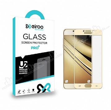 Eiroo Samsung Galaxy J7 Pro 2017 Curve Tempered Glass Full Gold Cam Ekran Koruyucu