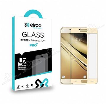 Eiroo Samsung Galaxy J7 Pro 2017 Curve Tempered Glass Full Gold Cam Ekran Koruyucu