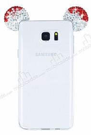 Samsung Galaxy Note 5 Taşlı Kulaklı Kırmızı Silikon Kılıf