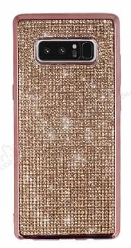 Eiroo Samsung Galaxy Note 8 Taşlı Rose Gold Silikon Kılıf