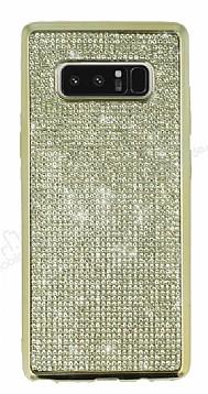 Eiroo Samsung Galaxy Note 8 Taşlı Gold Silikon Kılıf