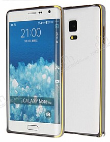 Eiroo Samsung Galaxy Note Edge Gold �izgili Round Metal Bumper �er�eve F�me K�l�f