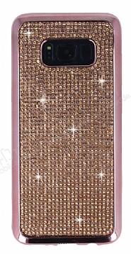Eiroo Samsung Galaxy S8 Plus Taşlı Rose Gold Silikon Kılıf