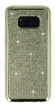 Eiroo Samsung Galaxy S8 Plus Taşlı Gold Silikon Kılıf