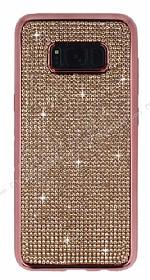Eiroo Samsung Galaxy S8 Taşlı Rose Gold Silikon Kılıf