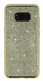 Eiroo Samsung Galaxy S8 Taşlı Gold Silikon Kılıf