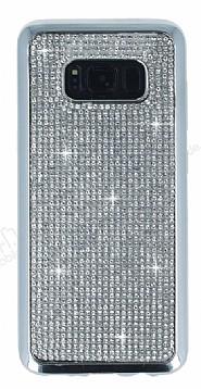 Eiroo Samsung Galaxy S8 Taşlı Silver Silikon Kılıf
