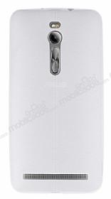 Asus ZenFone 2 Deri Desenli Ultra İnce Şeffaf Beyaz Silikon Kılıf