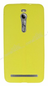 Asus ZenFone 2 Deri Desenli Ultra İnce Sarı Silikon Kılıf