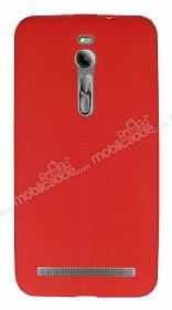 Asus ZenFone 2 Deri Desenli Ultra İnce Kırmızı Silikon Kılıf