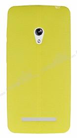 Asus ZenFone 5 Deri Desenli Ultra İnce Sarı Silikon Kılıf