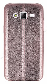Eiroo Seams Fit Samsung Galaxy J7 Ultra �nce Metalik Rose Gold Silikon K�l�f