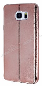 Eiroo Seams Fit Samsung Galaxy Note 5 Ultra �nce Metalik Rose Gold Silikon K�l�f