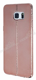 Eiroo Seams Fit Samsung Galaxy S6 Edge Plus Ultra �nce Metalik Rose Gold Silikon K�l�f
