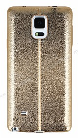 Eiroo Seams Fit Samsung N9100 Galaxy Note 4 Ultra İnce Metalik Gold Silikon Kılıf