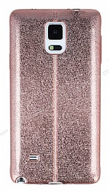 Eiroo Seams Fit Samsung N9100 Galaxy Note 4 Ultra İnce Metalik Rose Gold Silikon Kılıf