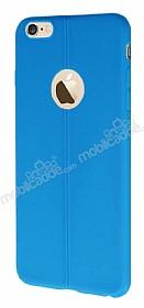 iPhone 6 Plus / 6S Plus Deri Desenli Ultra İnce Mavi Silikon Kılıf