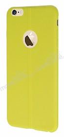 iPhone 6 Plus / 6S Plus Deri Desenli Ultra İnce Sarı Silikon Kılıf